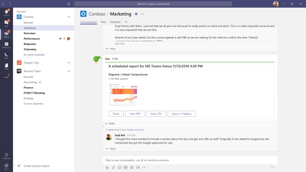Kiwi Microsoft Teams integrations
