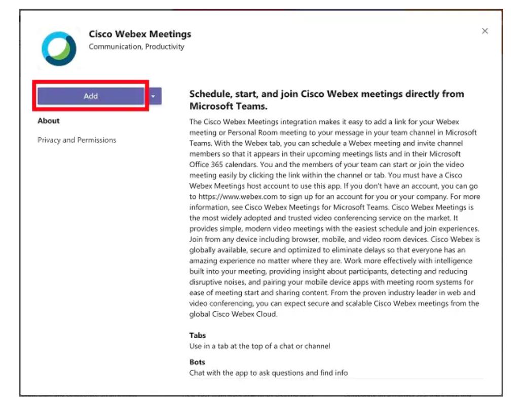 Webex meeting in Microsoft Teams