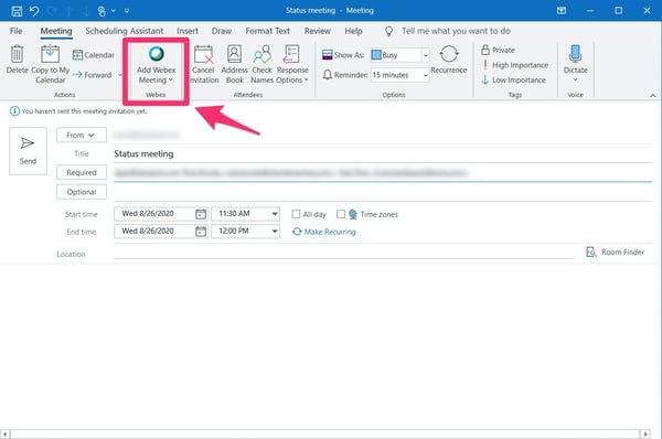How do I add Webex to my Outlook toolbar
